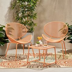 Elloree Iron Modern Chat Set - Matte Orange - Christopher Knight Home Table Seating, Patio Table, Patio Chairs, Used Outdoor Furniture, Wood Patio Furniture, Bistro Set, Roosevelt, 3 Piece, Group