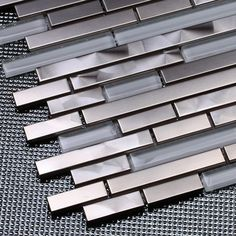 silver stainless steel mixed white glass strip mosaic tiles for kitchen backsplash bathroom wall shower tiles living room mosaic