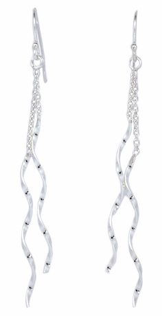 Threader Link Drop connected Twist Stick Silver Dangle Earrings Women [ISE0089] #BKGjewelry #DropDangle