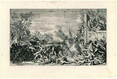 Anonymous   Wreedheden in een dorp in de winter, 1672, Anonymous, Romeyn de Hooghe, 1673 - 1675   Voorstelling van de wreedheden bedreven door de Franse troepen in Hollandse dorpen in het jaar 1672, gekopieerd naar de prenten van Romeyn de Hooghe uit 1673 (FMH 2439). De voorstelling toont het vermoorden van de bewoners van een dorp. Op de voorgrond dwingt een Franse soldaat een naakte vrouw door het ijs. Rechts een brandende woning met de naakte lichamen van de vermoorde bewoners op een…