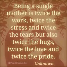 Just want to say I'm proud of all you single mums and dads... Keep going no matter what...you have it twice as hard, but I promise you all, one day your children will realise just how strong you are, and they'll ❤️ Love you ❤️for it even more...<3 Kelly Winn