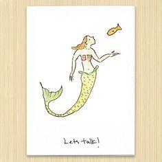 Mermaid hand drawn eco greeting card Lets Talk by Rosieswonders