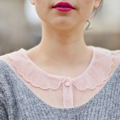 Sheer pink Peter Pan collar blouse and modest sweater. Golas Peter Pan, Pretty Outfits, Cute Outfits, Hippy Chic, Peter Pan Collars, Dita Von Teese, Mode Inspiration, Dress Me Up, Passion For Fashion