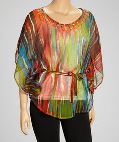 Take a look at this Orange & Teal Streaked Tunic - Plus by Life and Style Fashions on #zulily today!
