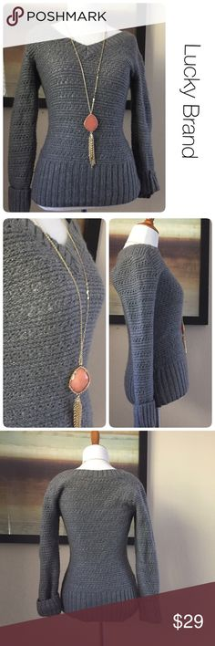Lucky Brand grey and metallic detail sweater small ♦️ Great condition. No stains, holes. Some piling as pictured  ♦️Materials: see picture #4 for details  ♦️Measurements: ♦️Underarm to underarm flat across is approximately 15.5 inches  ♦️Back of neck to bottom of hem is approximately 22 inches Lucky Brand Sweaters V-Necks