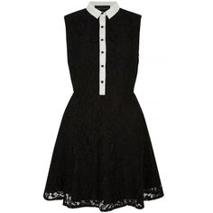 Iska Black contrast lace collar skater dress ($39) ❤ liked on Polyvore featuring dresses, kohl dresses, shirt-dress, black dress, lacy dress and black button front dress