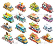 Buy Street Food Trucks Isometric Icons Collection by macrovector on GraphicRiver. Street food trucks models isometric icons collection with coffee pizza bbq and fresh fruits sellers isolated vector i. Food Truck Menu, Food Truck Design, Food Trucks, Pizza Icon, Truck Icon, Isometric Art, Icon Collection, Food Drawing, Food Festival
