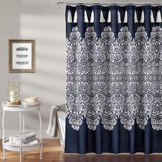 Boho Medallion Shower Curtain Navy (Blue) - Lush Décor