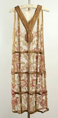 Art Deco Evening Dress, Callot Soeurs ca 1924, French, cotton, metallic thread.