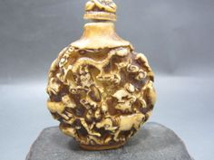 collection chinese top-grade old Bone meal Antique Zodiac snuff bottle &B73