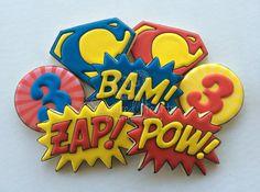 Superhero Birthday Cookies - Pow Bam Zap Pop Art - 1 Dozen By Sugared Hearts Bakery