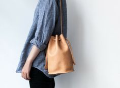 Baggu Leather Drawstring Purse in Natural