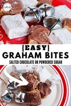 You have got to try this recipe for easy Salted Chocolate Graham Bites. Cookies for a crowd or cookie exchange! Chocolate Graham Cookies are simple to make, easy to eat! Make some for your holiday cookie exchange this year. Also called Magic Bars, these cookies are the best! High altitude baking instructions included. #thefreshcooky #highaltitudecookies #Christmascookies Mini Desserts, Holiday Desserts, Easy Desserts, Delicious Desserts, Dessert Recipes, Graham Cookies, Butter Sugar Cookies, Gluten Free Graham Crackers, High Altitude Baking