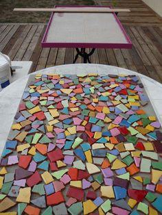 Mosaique tuto dessus de table 1er tape bricolage for Creer une table de jardin