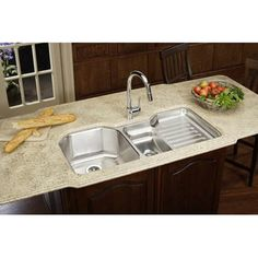 Elkay ELUH4221L Lustertone Double Bowl Undermount to Left of Ribbed Area withSink