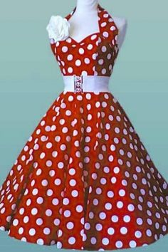 Vivien of Holloway - 50s Retro Hatlerneck polka dots red white dress. I think I would like this dress better without the big flower, but it's still cute!