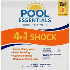 Pool essentials shock treatment is fast dissolving and clears cloudy water fast! This awesome pool treatment reduces chlorine order and controls bacteria. This powerful pool shock was designed for easy, weekly pool shocking. Cloudy Pool Water, Spa Water, Above Ground Pool, In Ground Pools, Spa Chemicals, Swimming Pool Chlorine, Shock Treatment, Pool Shock, Pool Maintenance