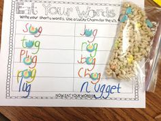 First Grade Wow: Eat Your Words-Lucky Charms