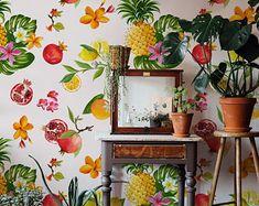 Carta da parati rimovibile - Frutta esotica - Copertura della parete - Decorazione - Decorazioni murali - Carta da parati temporanea
