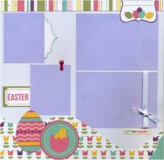 Double page layout was created using a mix of coordinating printed cardstock, textured cardstock, title die cut and Easter Memories sticker,