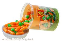 Jelly Belly's Peas & Carrots    It's like candy corn.