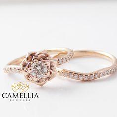 14K Rose Gold Diamond Engagement Ring Set Rose Gold Flower Ring Flower Engagement Ring by CamelliaJewelry on Etsy https://www.etsy.com/listing/252764691/14k-rose-gold-diamond-engagement-ring