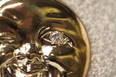 Vintage Style 14k Rose Gold Moon Pendant Charm Diamond Eyeball Knockout RARE!