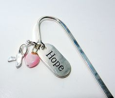 Hope Cancer Bookmark Pink Ribbon Charity by CloudNineDesignz, $8.00