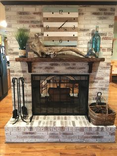 Limewashed red brick fireplace using Romabio Classico tinted in SW Natural Choice. Product is risk free and easy to use. Takes very little product. One liter did my four-sided fireplace.