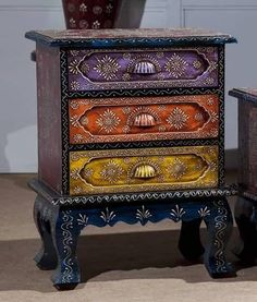 Three Drawer Colorful Chest [ ] - : An Online furniture store for Bedroom, Living Room, Dining Room, Indian Wooden Furniture, Jodhpur Furniture Wooden Sofa: Visit Us Funky Painted Furniture, Upcycled Furniture, Wooden Furniture, Dining Furniture, Cool Furniture, Furniture Dolly, Furniture Outlet, Furniture Ideas, Discount Furniture