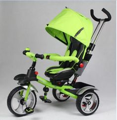 2017 3 WHEELS TRICYCLE RIDE ON TOY BABY TODDLER PRAM STROLLER JOGGER CAR (GREEN)