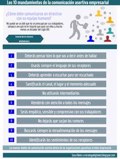 10 mandamientos de la comunicación asertiva empresarial #infografia #infographic