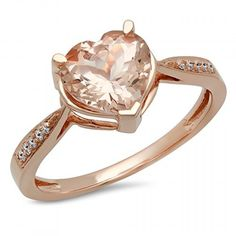 14K Rose Gold Heart-Shaped Morganite & Round Diamond Ladies Bridal Promise Engagement Ring . Available at www.Brandinia.com