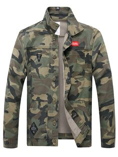 Applique Button Up Camouflage Jacket - Army Green - 3Q87276815 - Men's Clothing, Men's Outerwear, Men's Jackets  #MensJackets #Men's #Clothing # #Men's #Outerwear # #Men's #Jackets Camo Denim Jacket, Camo Jeans, Camouflage Jacket, Sweater Jacket, Denim Jackets, Men's Jacket, Green Jacket, Jean Jackets, Denim Decor
