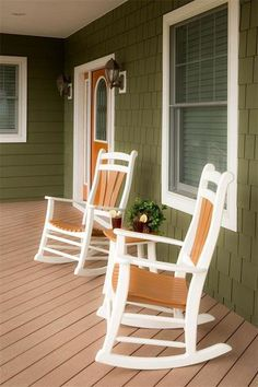 High Tide Poly Porch Rocker Set Delightful place to get away from it all. Poly porch rockers are highly durable and low maintenance. Available in a variety of colors. #rockers #porchrockers #porchrocker #polyrocker #outdoorrockingchairs
