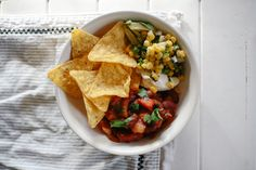 Bean Burritos (or Nachos!) with Corn Salsa - Practising Simplicity Corn Salsa, Salsa Nachos, Bean Burritos, New Recipes, Healthy Recipes, Monthly Meal Planning, Going Vegetarian, Nutritious Meals, Eating Habits