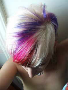 Platinum Blonde with Tinge of Various Colors  ETA For the placement, not the colours