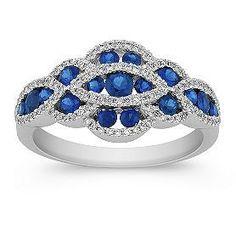 Round Sapphire and #Diamond Ring. http://jangmijewelry.com/