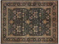William Morris Pak-Persian Eve Black/Green Hand-Knotted Rug (6'3 x 9'2)