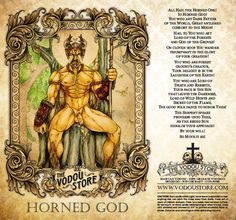 The Vodou Store Candle Label - Horned God - Pagan Witchcraft, Pagan Art, Wiccan, Mythological Creatures, Fantasy Creatures, Mythical Creatures, Occult Symbols, Occult Art, Pagan Gods