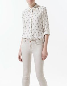 owl printed blouse with stud detail