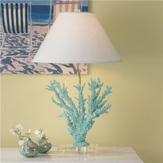 Coral Table Lamp in Spa  Blue, the salmon is also lovely.
