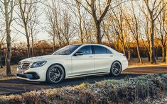 Download wallpapers Mercedes-Benz S63 AMG, 4k, 2018 cars, w222, autumn, tuning S-class, german cars, Mercedes