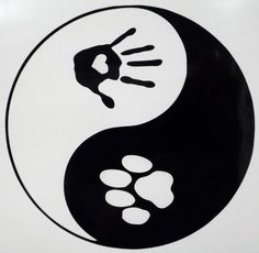 Paw & Hand Ying Yang Pets Car Truck Funny Window Vinyl Decal Sticker ChooseColor #StickerEmporium