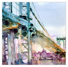 "Stunning watercolor work by Dorrie Rifkin entitled 'Bridge Somewhere in Brooklyn."" Look at how this woman uses paint!"