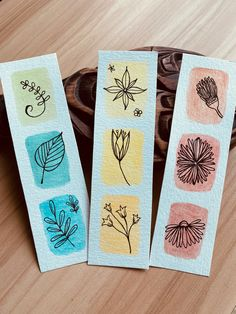 Creative Bookmarks, Diy Bookmarks, Homemade Bookmarks, Watercolor Bookmarks, Watercolor Cards, Simple Watercolor Paintings, Watercolor Art Landscape, Watercolour, Bookmark Craft