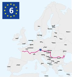 EuroVelo 6 (EV6), named The Rivers Route, is a EuroVelo long-distance cycling route running 3,653 km (2,270 mi) along the courses of some of Europe's major rivers — much of the Loire, some of the Saône, a short section of the upper Rhine and almost the entire length of Europe's second longest river, the Danube — all the way from the Atlantic coast of France to the city of Constanța on the Black Sea.