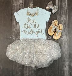 Run like its midnight Girls Sparkle T Shirt in silver sparkle