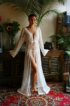 Embroidered French Lace Bridal Nightgown Panties by SarafinaDreams
