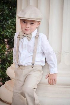 Lovely Wedding Trends: Page Boy and Flower Girls Outfits Ring Bearer Suspenders, Bowtie And Suspenders, Ring Bearer Outfit, Suspenders Outfit, Wedding Suspenders, Gatsby Wedding, Wedding Attire, Dream Wedding, Wedding Rings